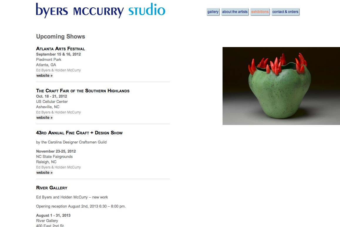 web design for two creative ceramicists - exhibitions page