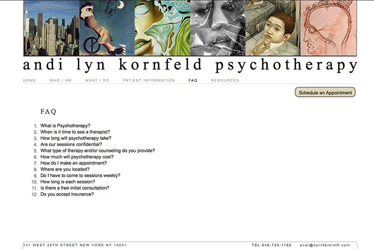 web design for a psychotherapist - frequently asked questions page