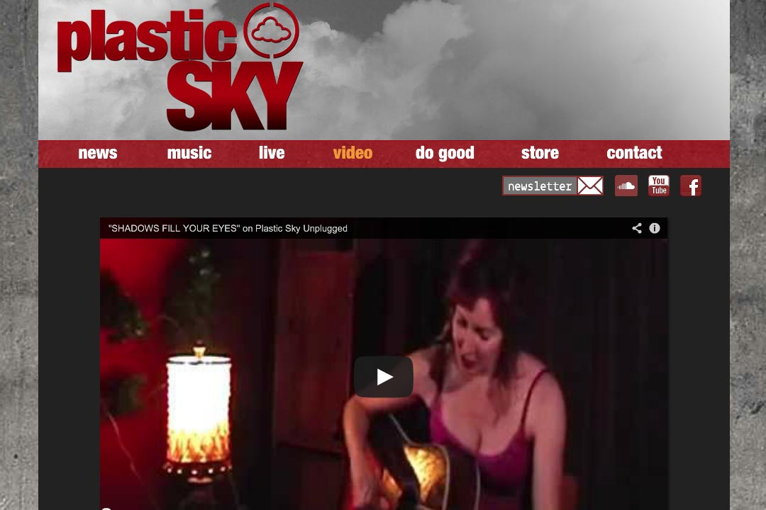 web design for a singer - Susane Asher - video page
