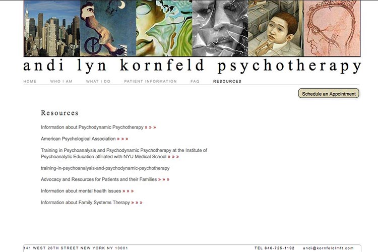 web design for a psychotherapist - resources page