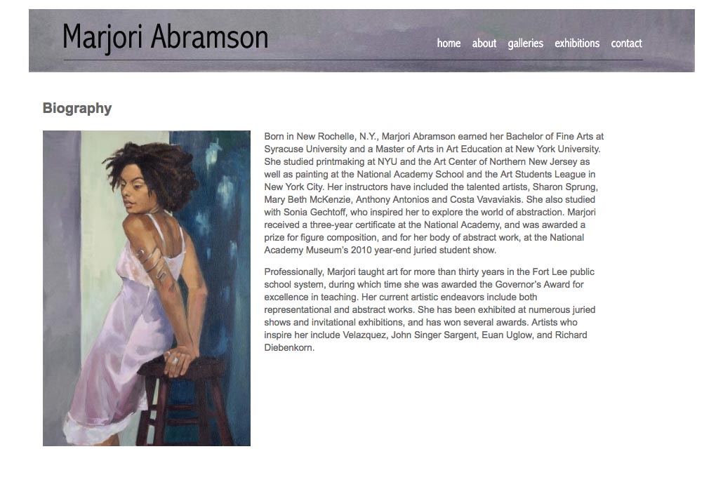 web design for an abstract and figurative artist - biography page