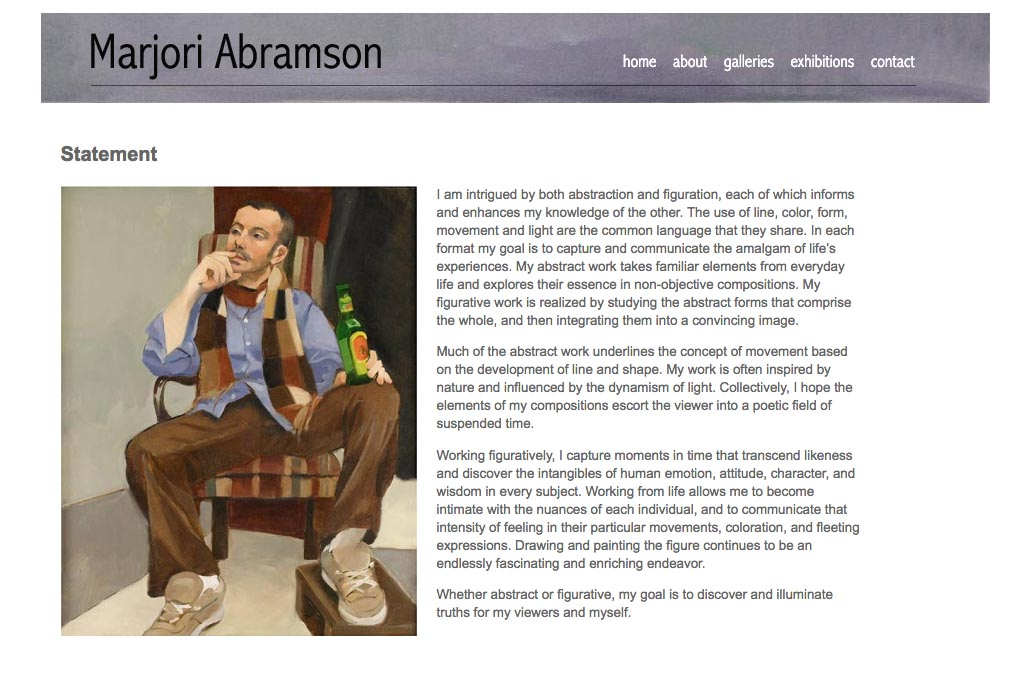 web design for an abstract and figurative artist - statement page