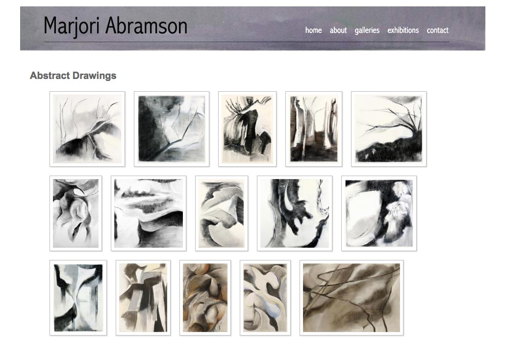 web design for an abstract and figurative artist - abstract drawings index page
