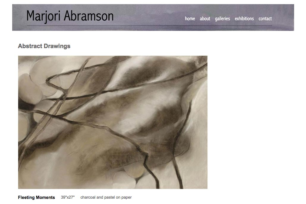 web design for an abstract and figurative artist - abstract drawings single artwork page