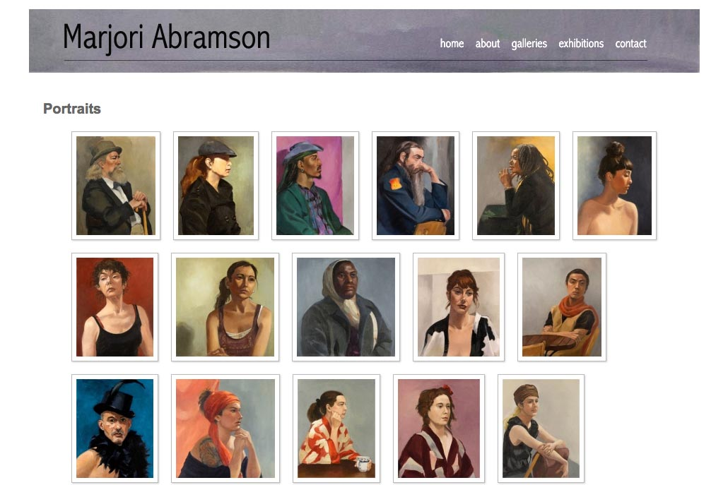 web design for an abstract and figurative artist - portraits index page
