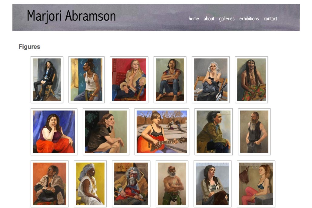 web design for an abstract and figurative artist - figures index page