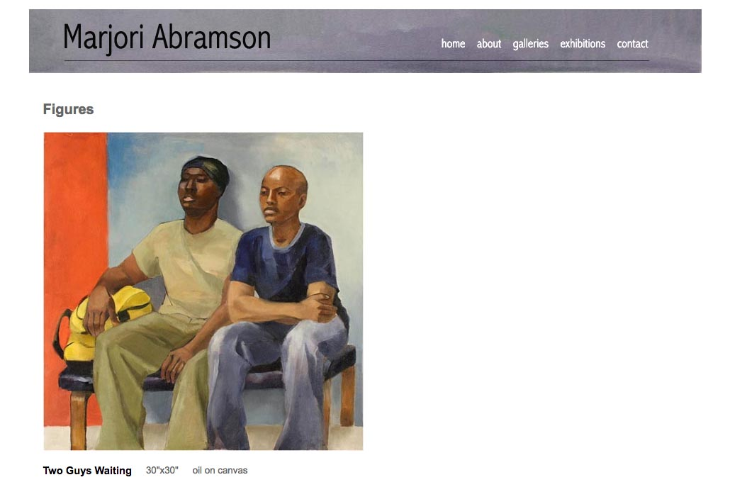 web design for an abstract and figurative artist - figures single artwork page