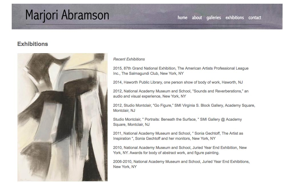 web design for an abstract and figurative artist - exhibitions page