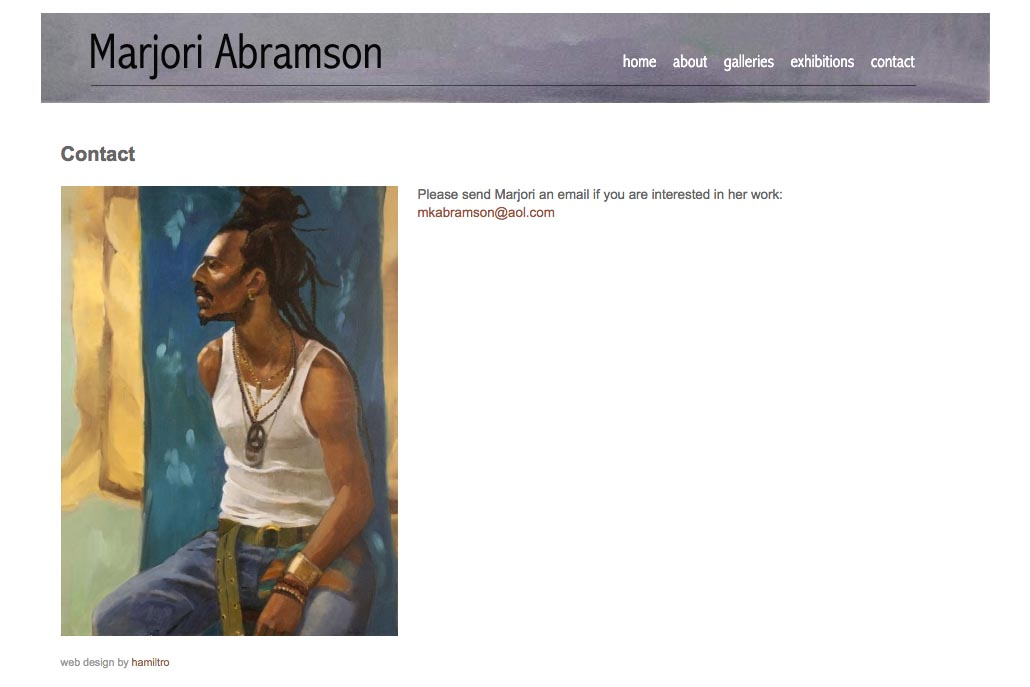 web design for an abstract and figurative artist - contact page