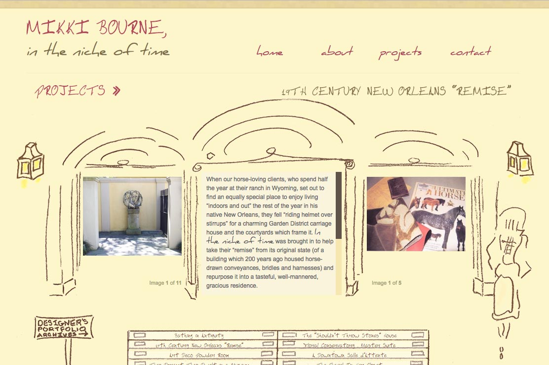 web design for an interior designer - projects example page 1