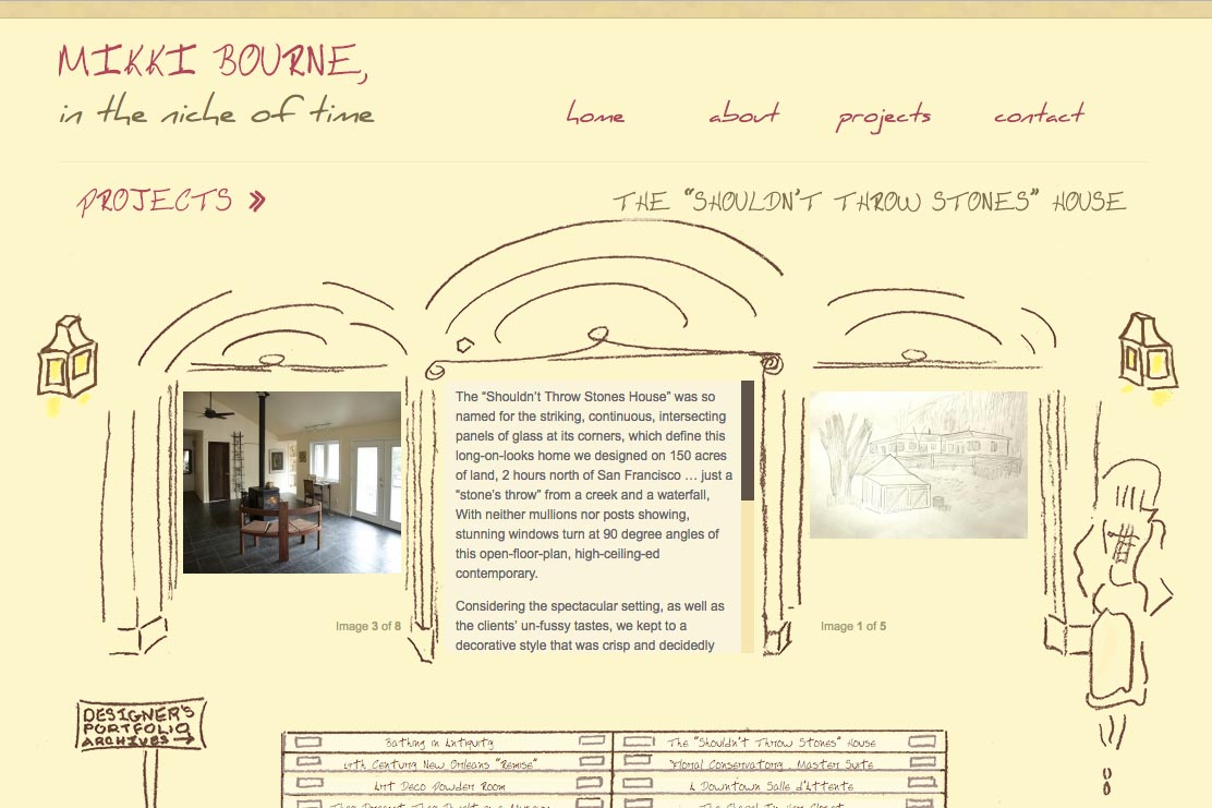 web design for an interior designer - projects example page 2