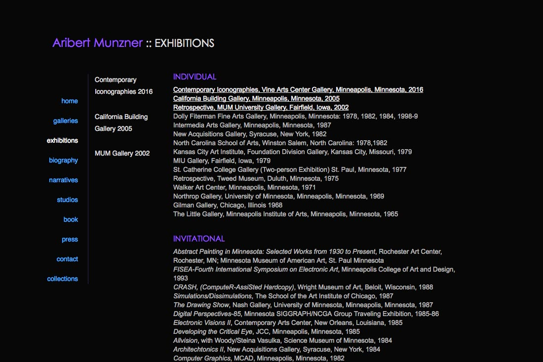 web design for a mature artist - exhibitions page