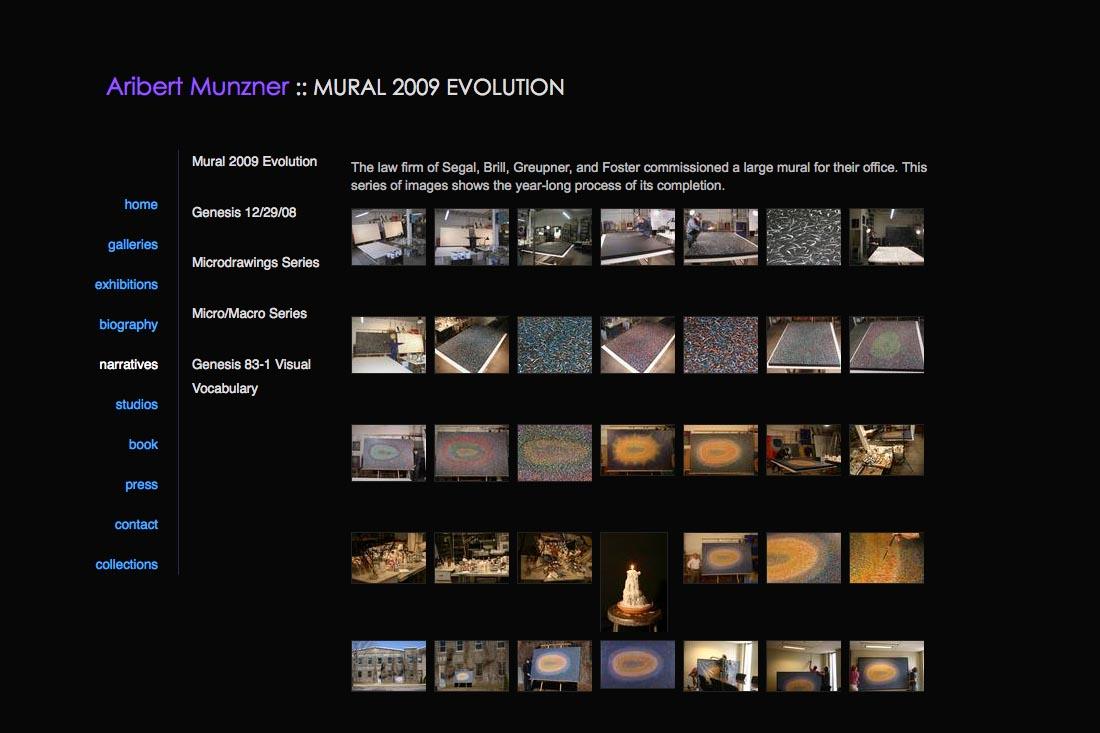 web design for a mature artist - Aribert Munzner - narratives page