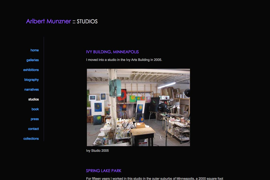 web design for a mature artist - studio history page