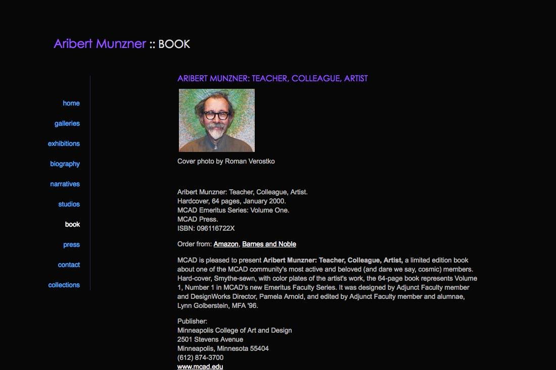 web design for a mature artist - publications page