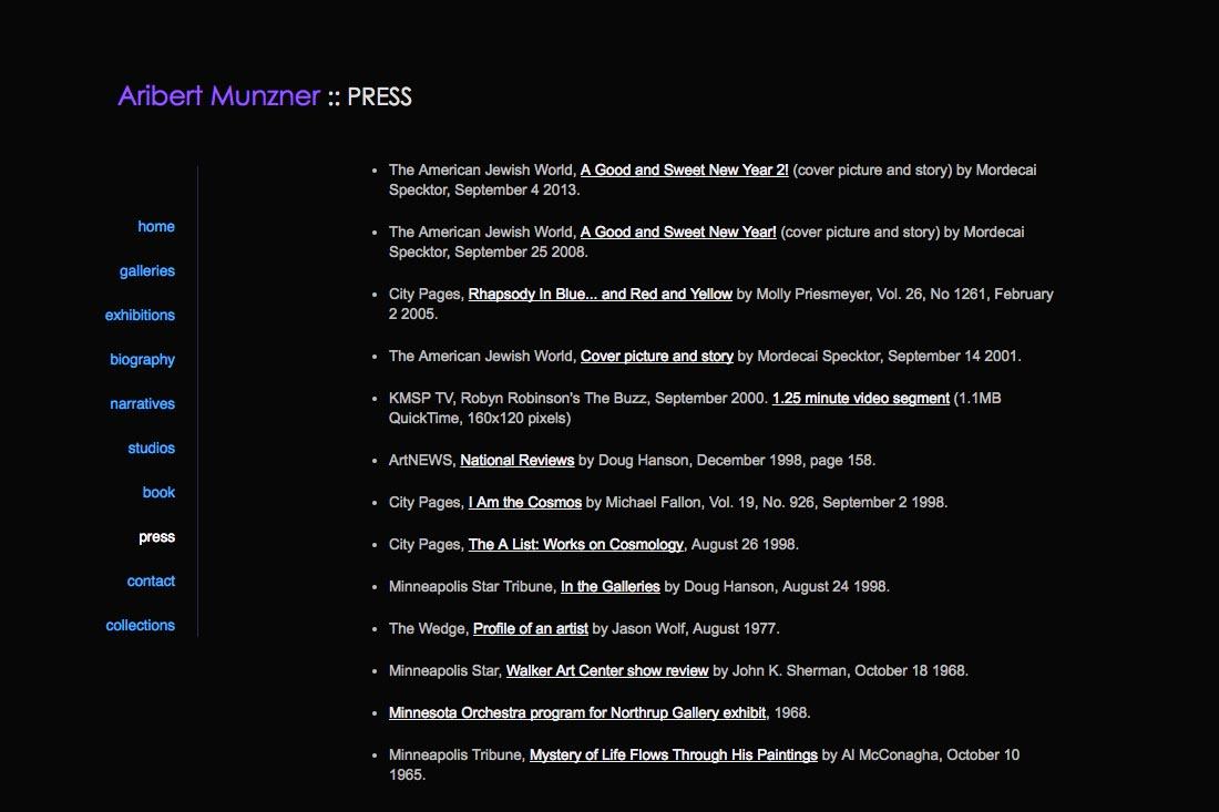 web design for a mature artist - press page
