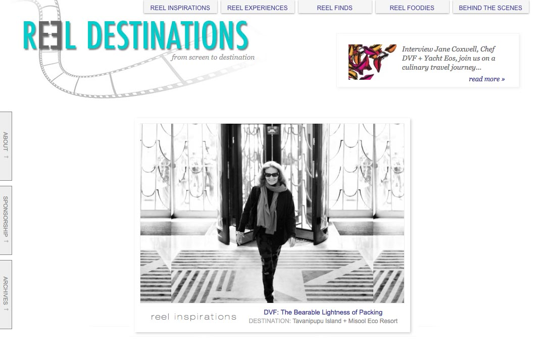 web design for a film-themed travel company - by web designer for artists and creative professionals, Rohesia Hamilton Metcalfe