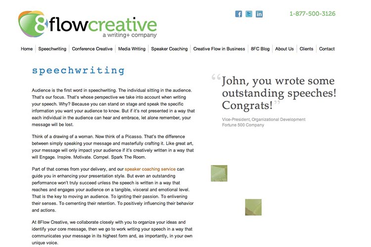 web design for a speaking coach and consultant - speechwriting page