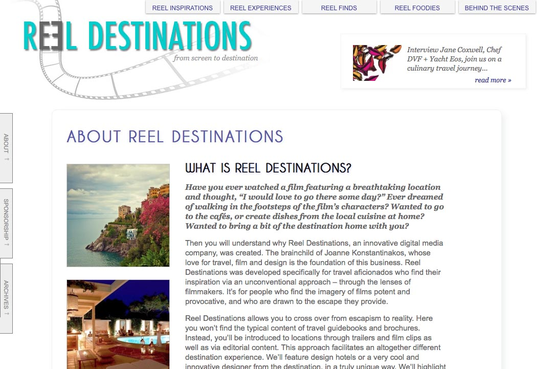 web design for a film-themed travel company - about page