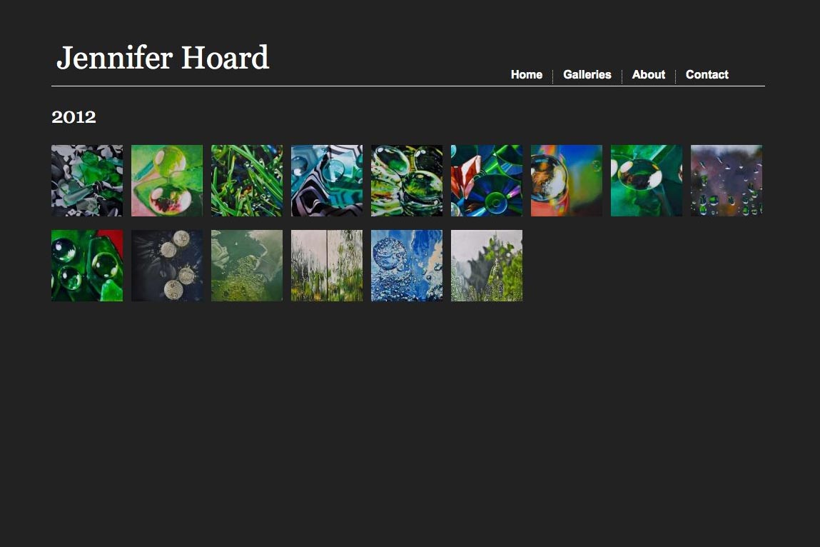 web design for an emerging artist - Jennifer Hoard - galleries index page
