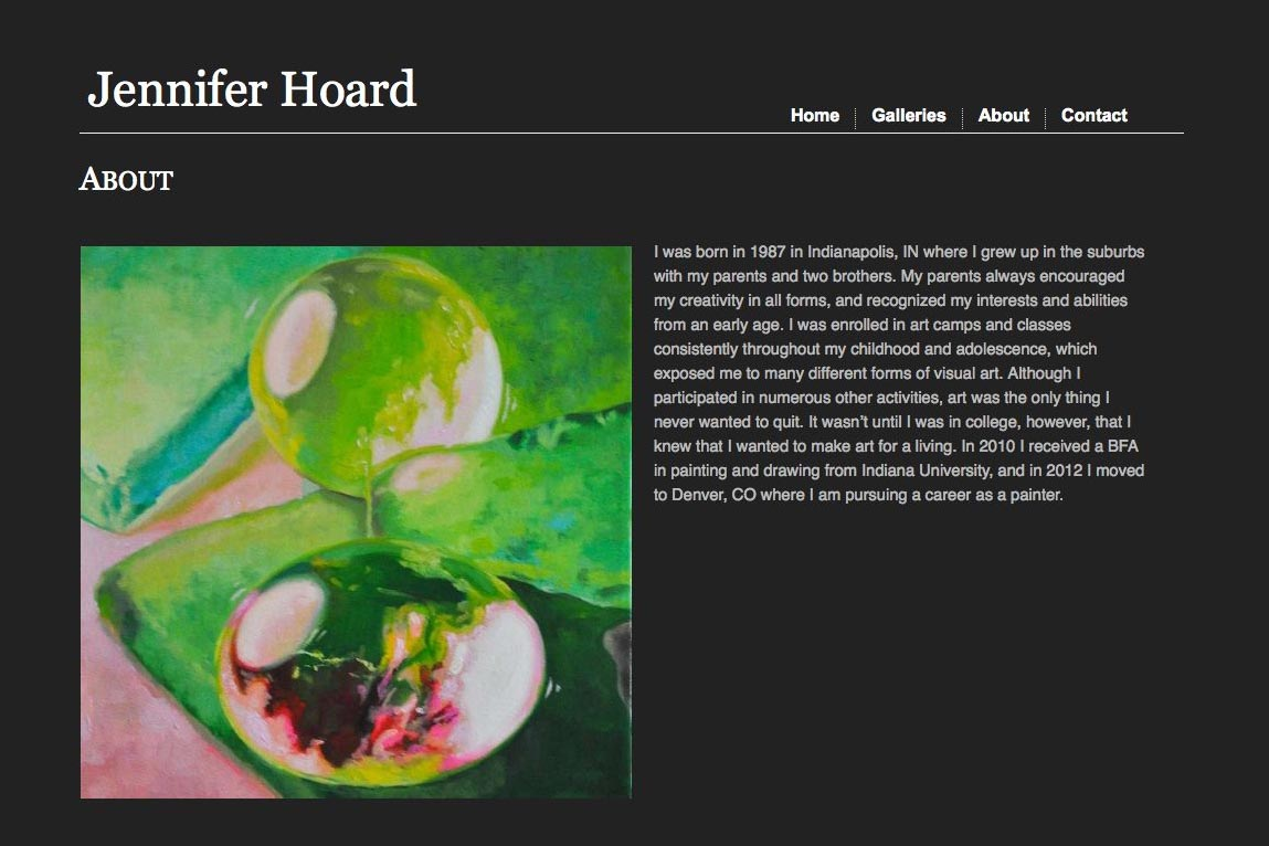 web design for an emerging artist - Jennifer Hoard - about page