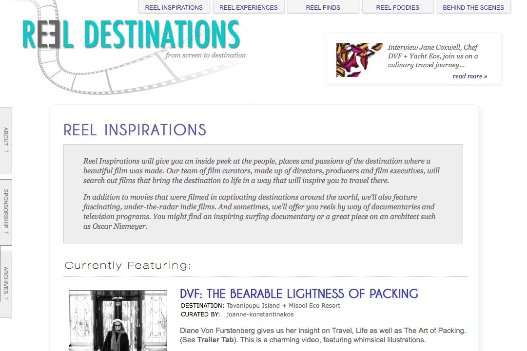 web design for a film-themed travel company - inspirations section landing page