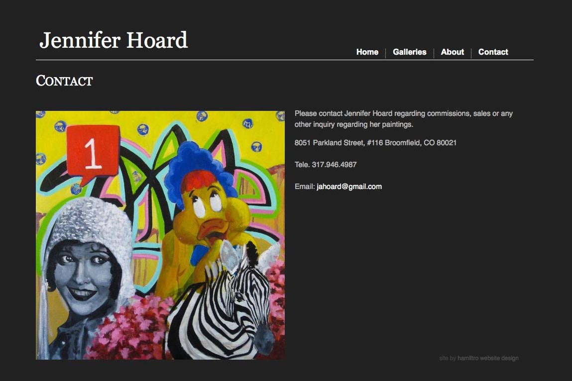 web design for an emerging artist - Jennifer Hoard - contact page