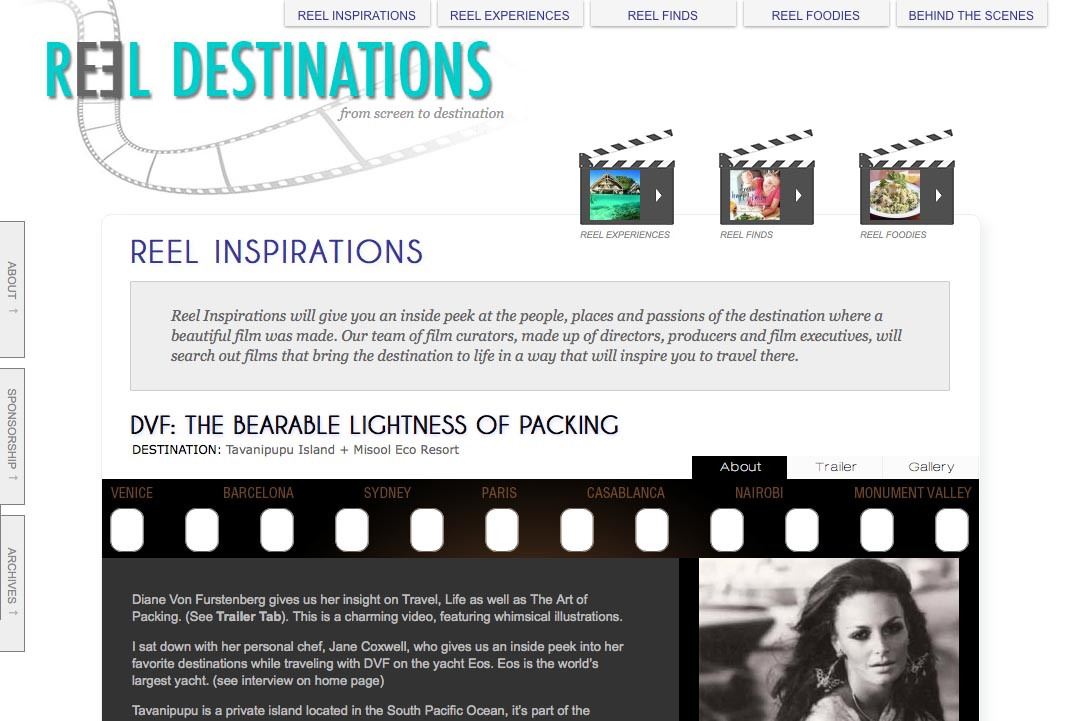 web design for a film-themed travel company - inspirations section single page