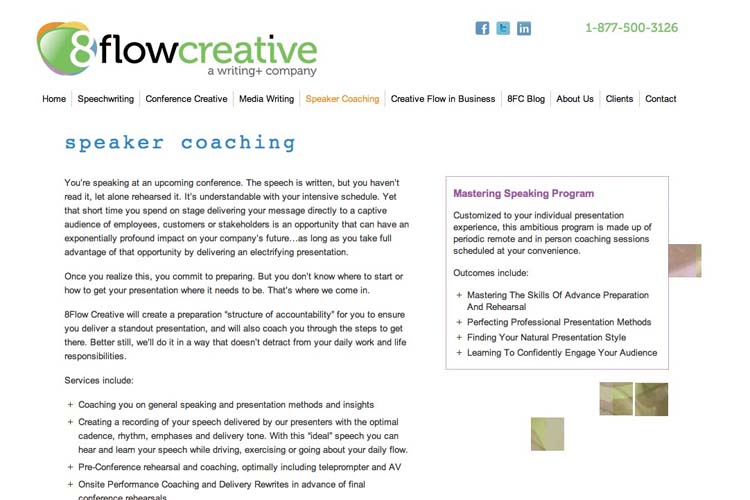 web design for a speaking coach and consultant - speaker coaching page