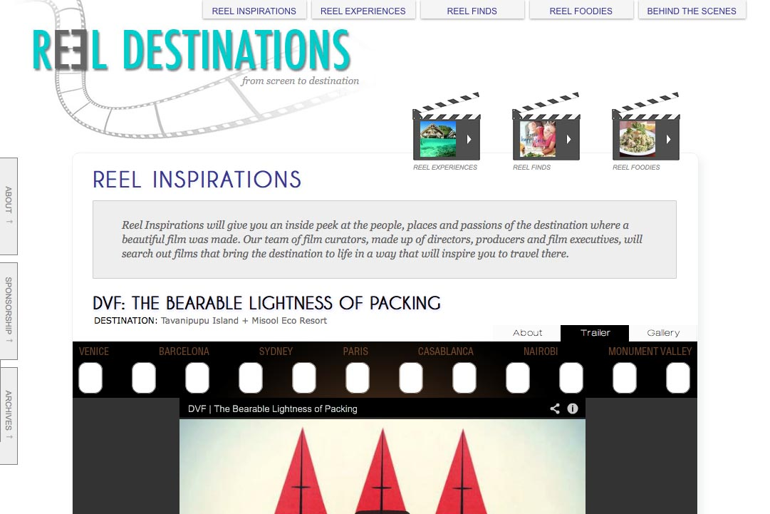 web design for a film-themed travel company - inspirations section single page with trailer