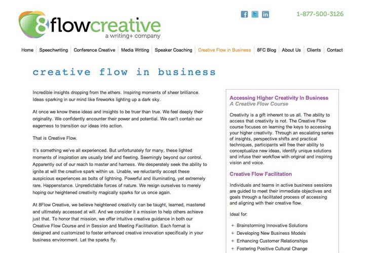 web design for a speaking coach and consultant - business page