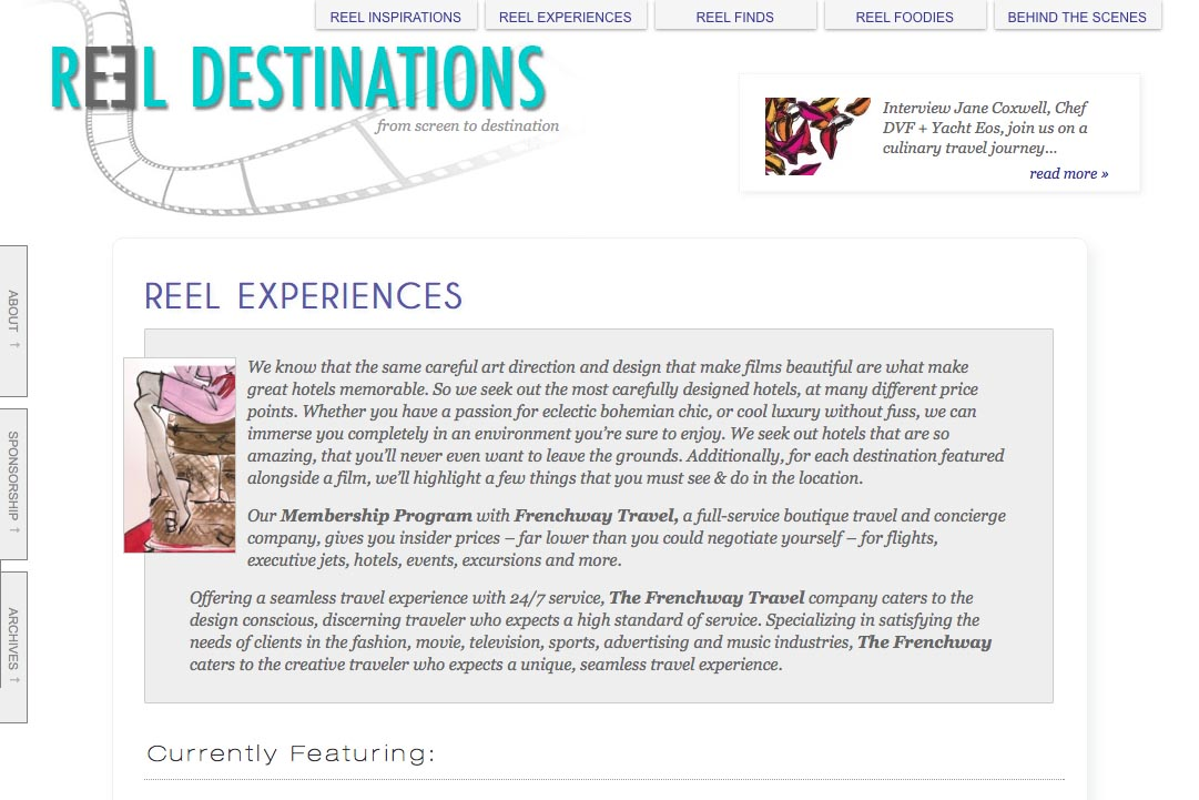 web design for a film-themed travel company - experiences section landing page