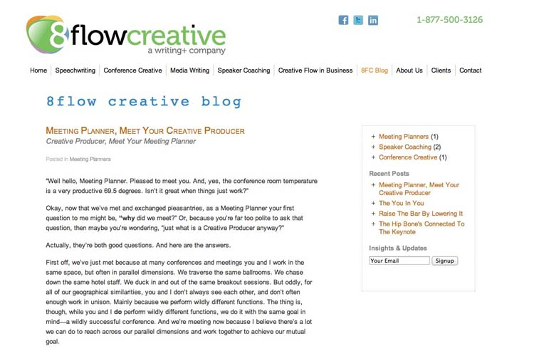 web design for a speaking coach and consultant - creative flow page