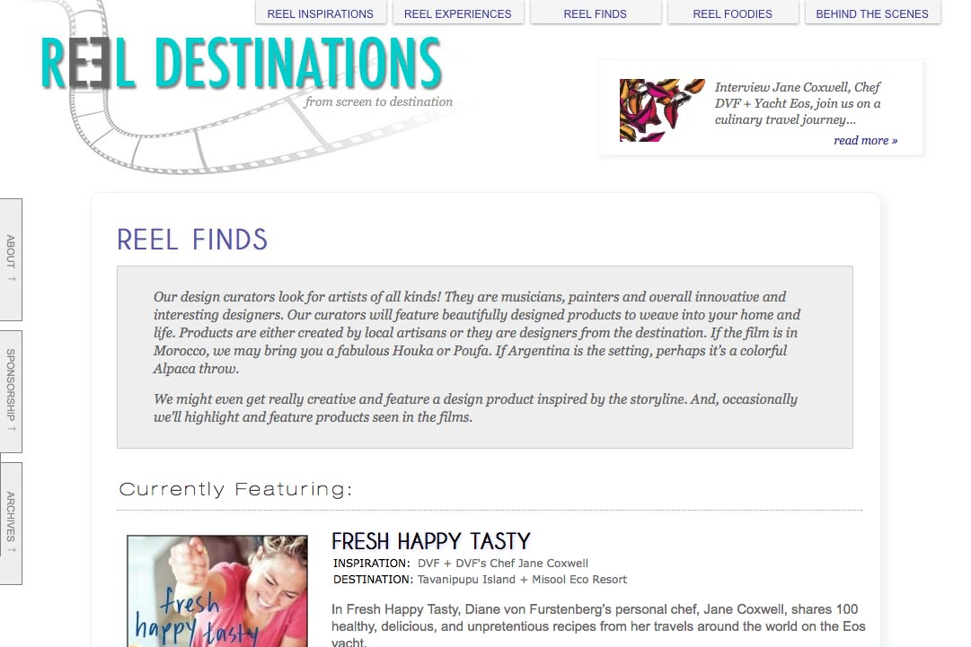web design for a film-themed travel company - finds section landing page