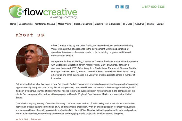 web design for a speaking coach and consultant - about page