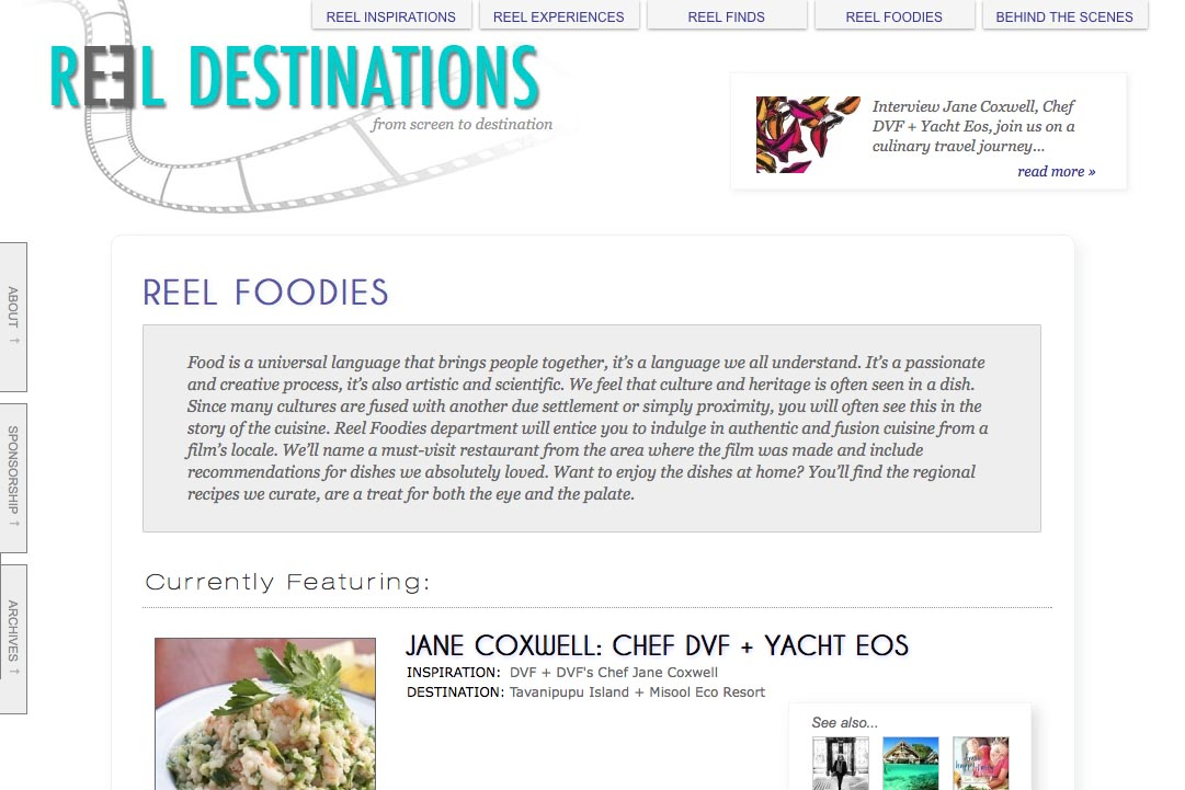 web design for a film-themed travel company - foodies section landing page