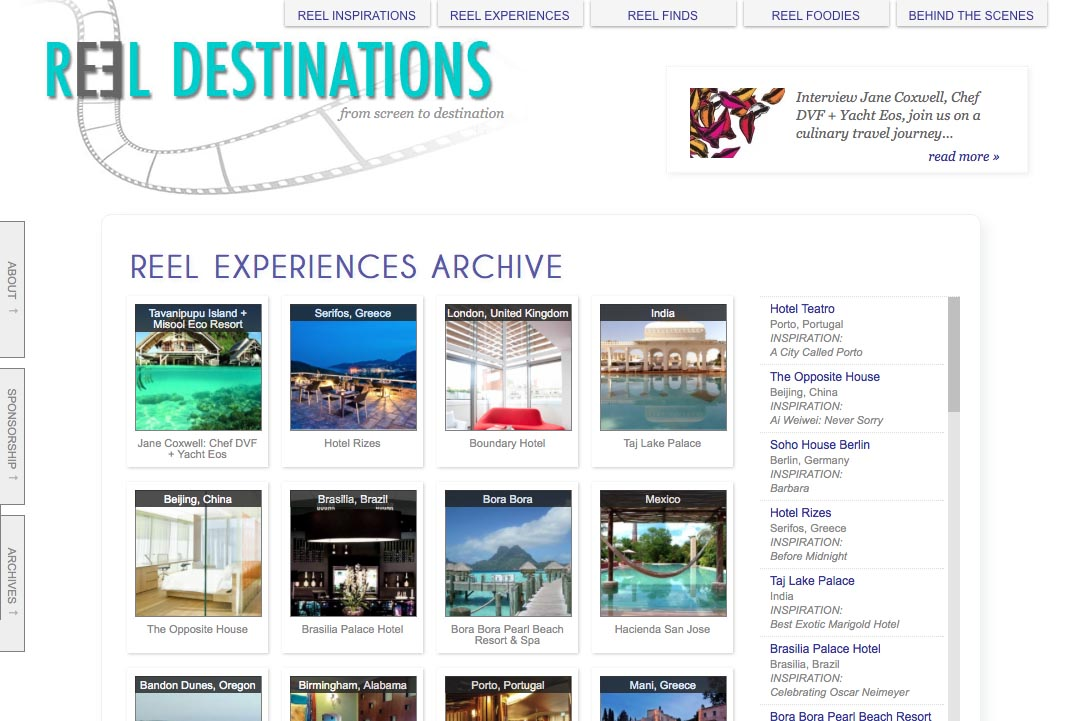 web design for a film-themed travel company - experiences archive page