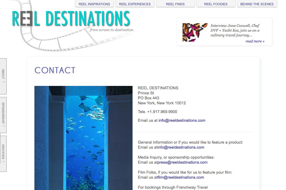 web design for a film-themed travel company - contact page