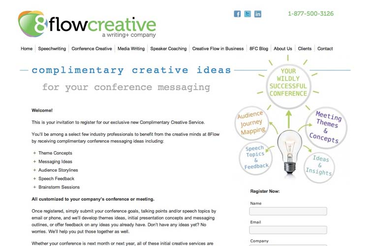web design for a speaking coach and consultant - creative ideas page