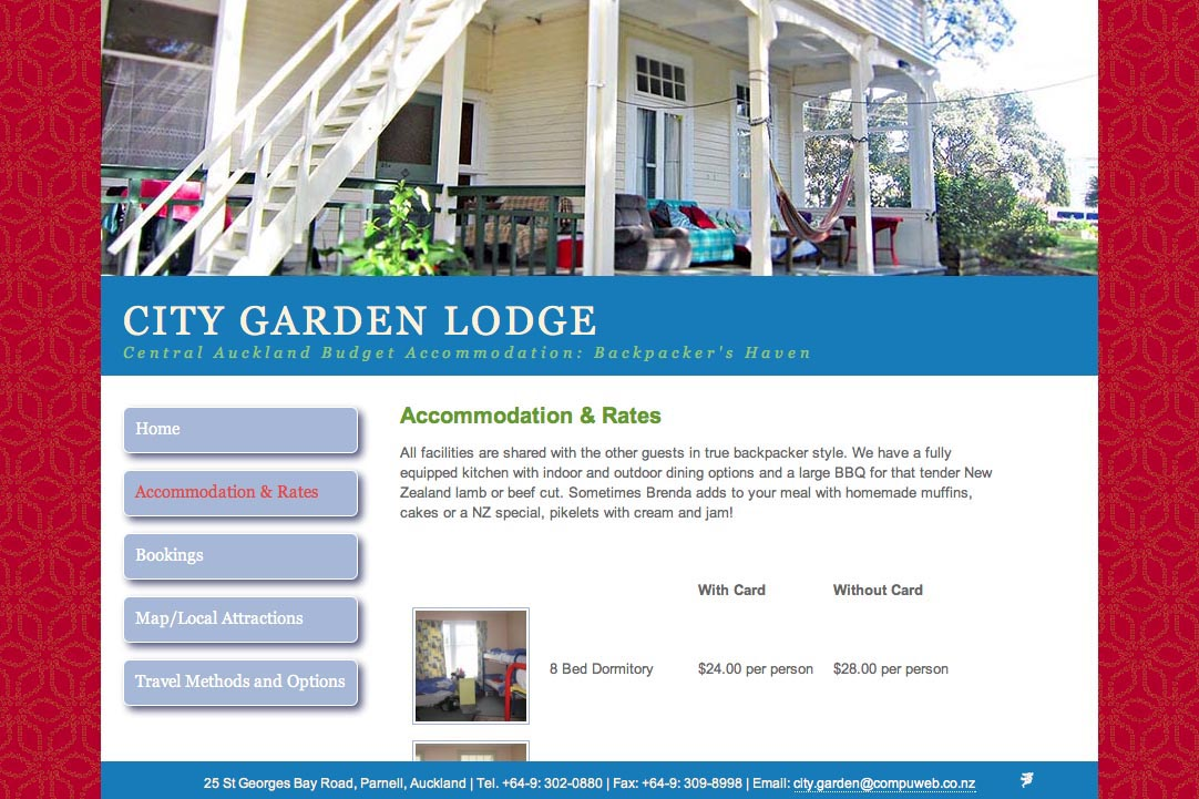 web design for a budget accommodation lodge - accommodation and rates page