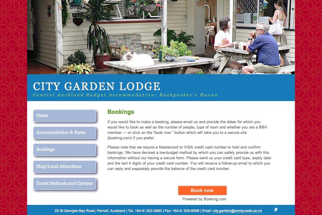 web design for a budget accommodation lodge - bookings page