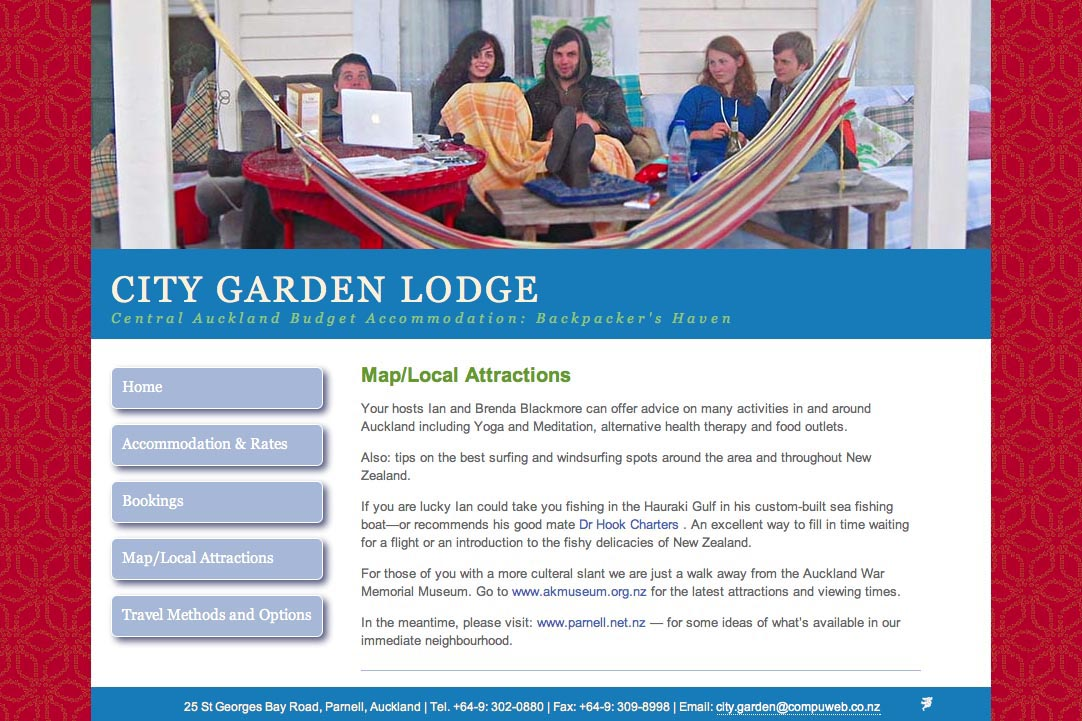 web design for a budget accommodation lodge - map and local attractions page
