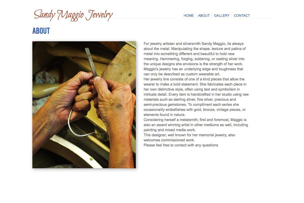 web design for an artisan-jeweler - Sandy Maggio - about page