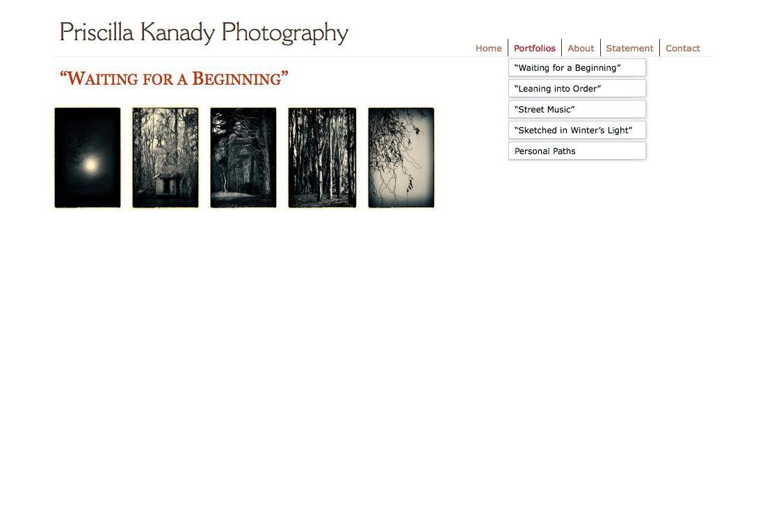 web design for a photographic artist - Priscilla Kanady - portfolios index