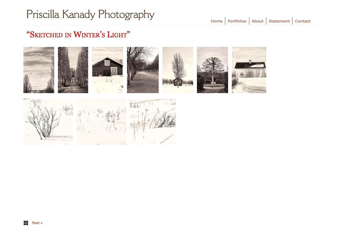 web design for a photographic artist - Priscilla Kanady - portfolios index 2