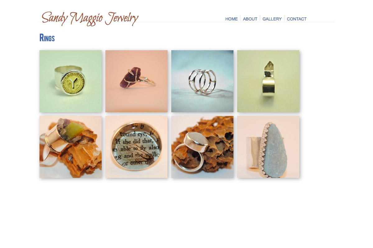 web design for an artisan-jeweler - Sandy Maggio - rings landing page