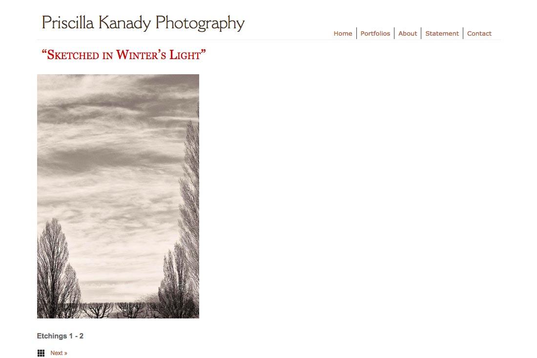web design for a photographic artist - Priscilla Kanady - portfolios single artwork page