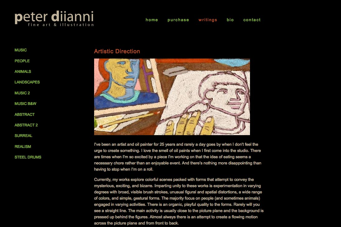 web design for an artist - Peter Diianni - writings page