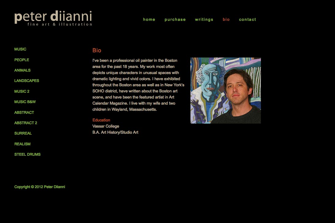 web design for an artist - Peter Diianni - bio page