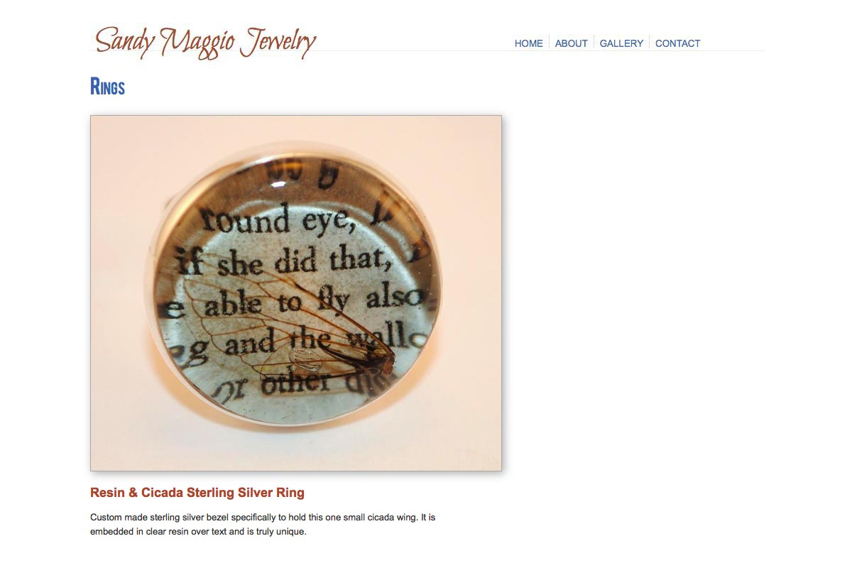 web design for an artisan-jeweler - Sandy Maggio - single ring page